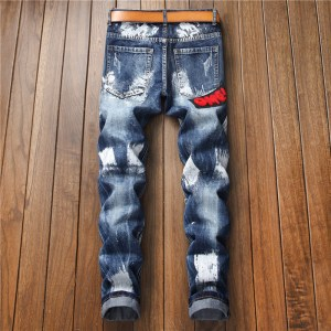 autumn and winter new small straight embroidered flag badge paint men's slim non-stretch jeans trend men's pants