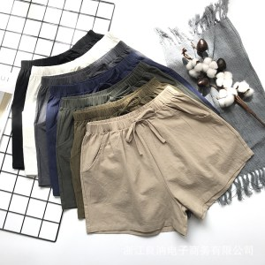 a large number of high waist cotton and linen shorts women Xia loose was thin Korean three-point hot pants large size wide-leg casual