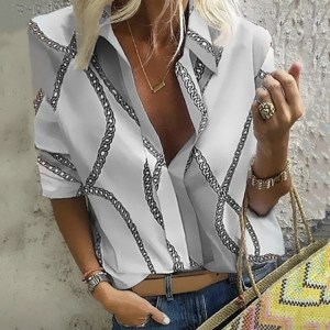 Amazon autumn and winter explosive chain printing lapels can pull long sleeve shirt women's tops