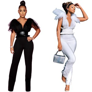 Amazon Hot Sale Womenswear Sexy Perspective Mesh Bow Bow Top Leather Waist Seal Jumpsuit