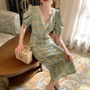 temperament green plaid dress female spring and summer years new French retro girl mid-length slim skirt
