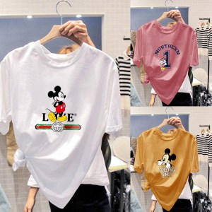 summer new combed cotton round neck short-sleeved shirt women Mickey Korean loose bottoming shirt one generation