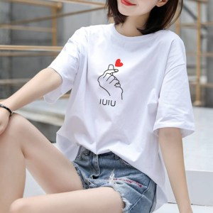 cotton summer new white Korean short-sleeved shirt women loose printed large size coat women's students