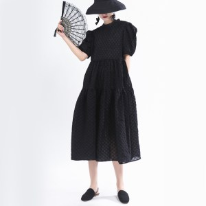 French puff sleeve dress designer embossed texture long black big swing salt and sweet dress