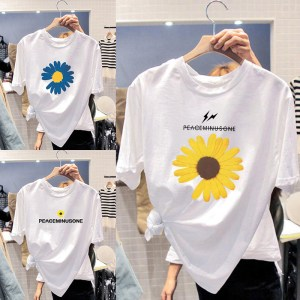 a generation of women's short-sleeved shirt cotton Korean version of the trend of student casual wild women's half-sleeved tail goods top