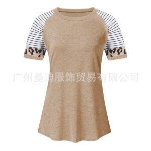 spring and summer new Amazon explosion models women's leopard stripes round neck short sleeve contrast color shirt