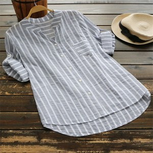 Amazon new casual collar striped five-point sleeve women shirt