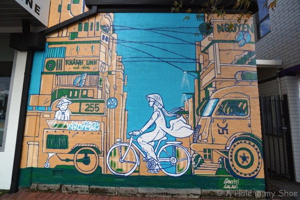 Painted on the side of Saigon Corner in Victoria Park by Graffiti Galaxi