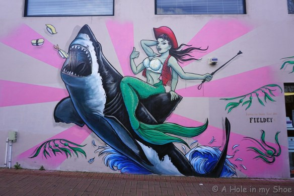 Jumping the Shark painted by Fieldey on the side of the Good Store in Vic Park