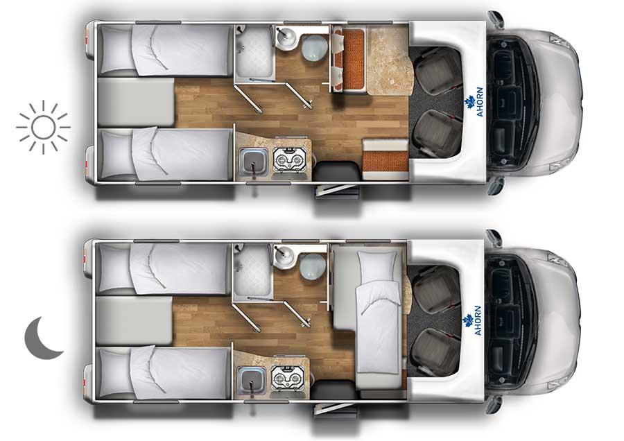 Wohnmobil Grundriss Einzelbetten