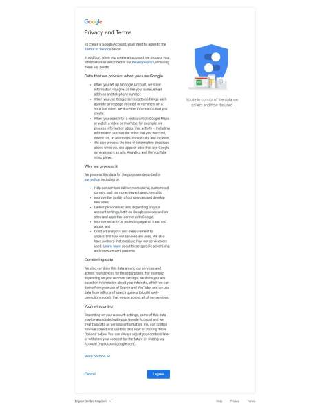 Accept Agreement of google Creation Account