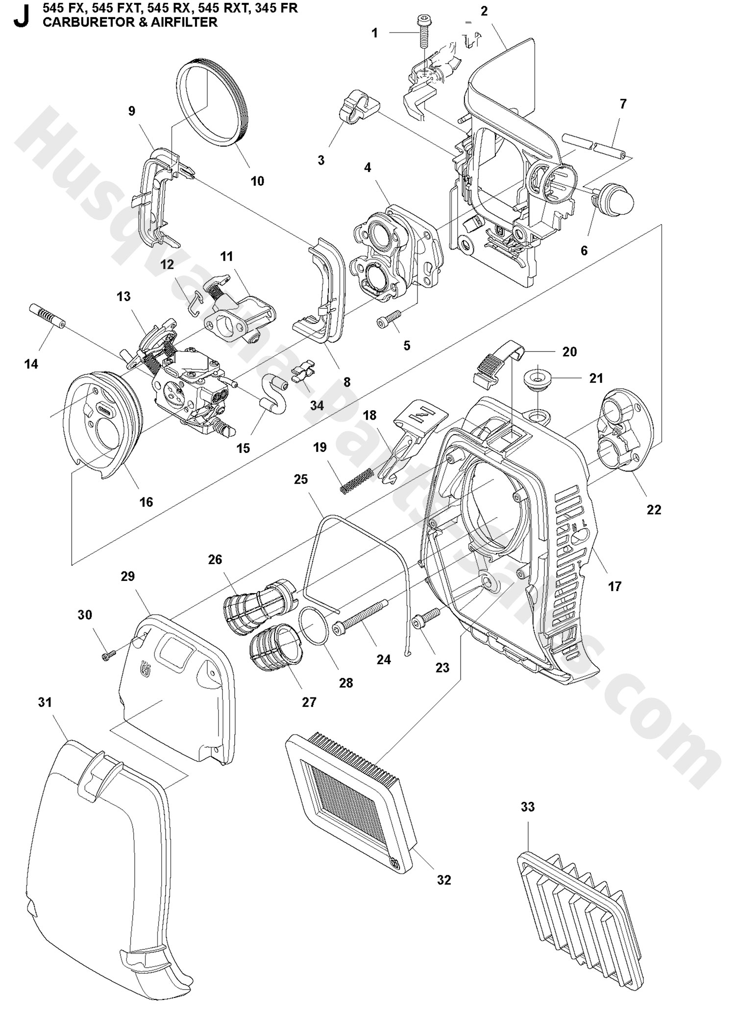 345fr Husqvarna Brushcutter Carburetor Amp Air Filter Parts