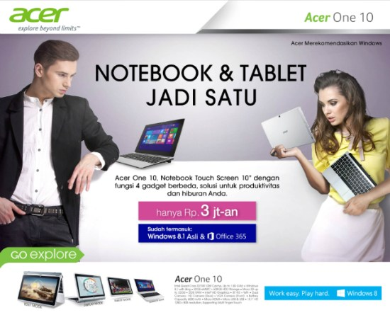 laptop tablet Acer One 10 Notebook Hybrid