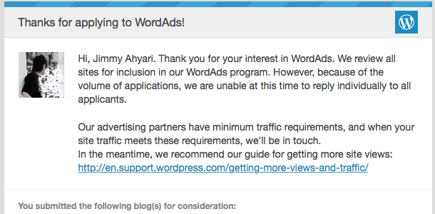 Email Konfirmasi WordAds