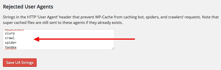 Rejected User Agents WP Super Cache