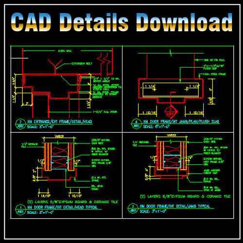 Door Jamb Details】★ Architectural Autocad Drawings