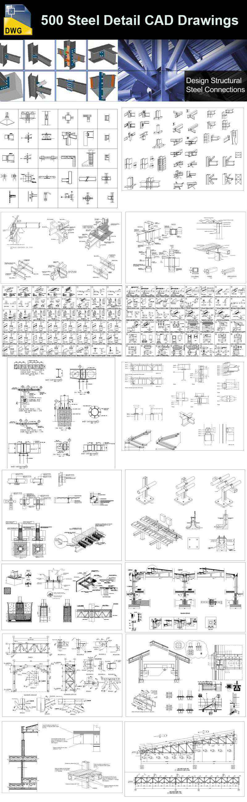 Over 500 Various Type Of Steel Structure Details Cad Drawings