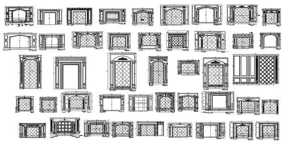 188 Types of TV Wall Design CAD Drawings