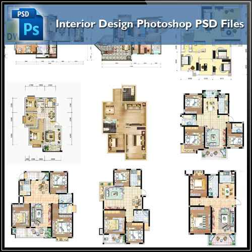 Interior Design Layout: 15 Types Of Interior Design Layouts Photoshop PSD Template