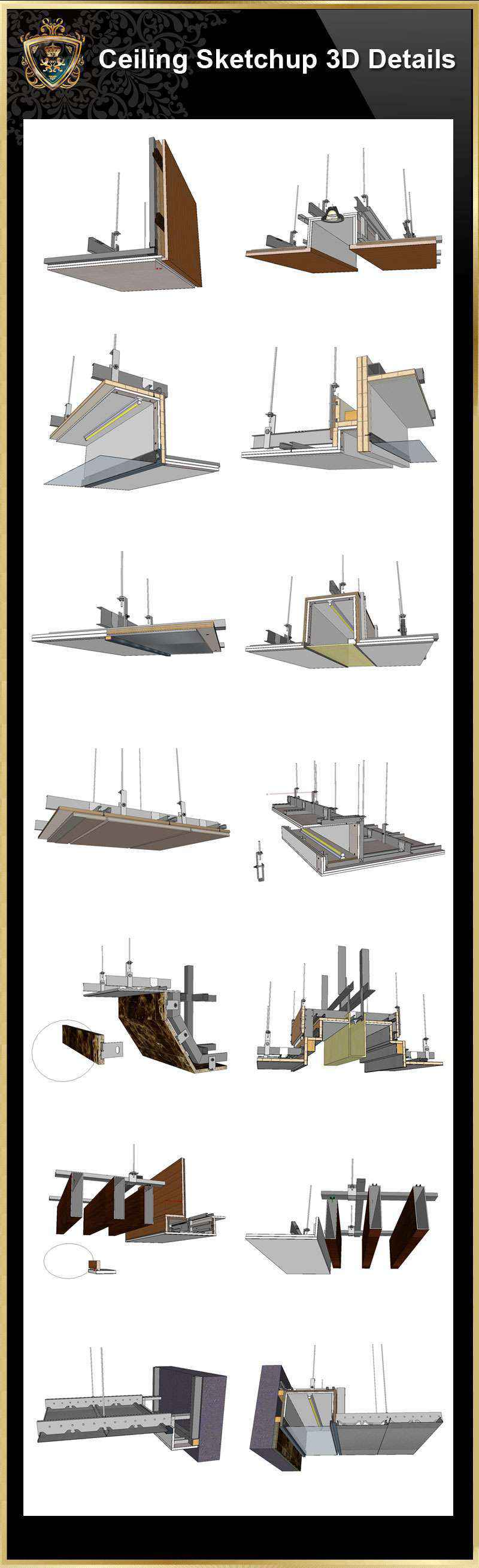 【Best 70 Types Ceiling Sketchup 3D Detail Models】 (★Recommanded★)(*.skp file format). ThisSketchup 3D CAD modelscollection can be used in your 3D design drawings(Sketchup,Autocad,3D max,Revit).  Download Best 70 Types Ceiling Sketchup 3D Detail Models(*.skp file format). This Sketchup 3D models collection can be used in your 3D design software(Sketchup,Autocad,3D max,Revit).Downloading 3D Sketchup Models to fuel your creative pursuits.      Include the followings sketchup 3D Models: Sketchup Ceiling Details-01-light steel frame ceiling - hard cover ceiling.skp Sketchup Ceiling Details-01-plasterboard ceiling .skp Sketchup Ceiling Details-02-plasterboard ceiling - gold and silver foil ceiling .skp Sketchup Ceiling Details-02-plasterboard ceiling - sewed ceiling.skp Sketchup Ceiling Details-03-plasterboard ceiling - Malay paint, diatom mud.skp Sketchup Ceiling Details-03-plasterboard ceiling-mirror ceiling.skp Sketchup Ceiling Details-04-stainless steel ceiling.skp Sketchup Ceiling Details-04-wood veneer ceiling.skp Sketchup Ceiling Details-05-mineral wool board ceiling-1.skp Sketchup Ceiling Details-05-mineral wool board ceiling-2.skp Sketchup Ceiling Details-06-calcium silicate board ceiling.skp Sketchup Ceiling Details-06-mineral wool board ceiling.skp Sketchup Ceiling Details-07-air conditioning duct.skp Sketchup Ceiling Details-07-glass ceiling.skp Sketchup Ceiling Details-08-air conditioning duct.skp Sketchup Ceiling Details-08-glass partition.skp Sketchup Ceiling Details-09-plasterboard ceiling ceiling connect with stone 2.skp Sketchup Ceiling Details-09-plasterboard ceiling connect with stone 1.skp Sketchup Ceiling Details-10-plasterboard ceiling ceiling connect with glass.skp Sketchup Ceiling Details-10-smoke blocking wall.skp Sketchup Ceiling Details-11-plasterboard ceiling is connected to aluminum plate 1.skp Sketchup Ceiling Details-11-plasterboard ceiling is connected to aluminum plate 2.skp Sketchup Ceiling Details-12-plasterboard ceiling is connected to