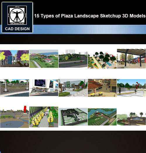 ★【Sketchup 3D Models】15 Types of Commercial Street Design Sketchup 3D  Models V 1