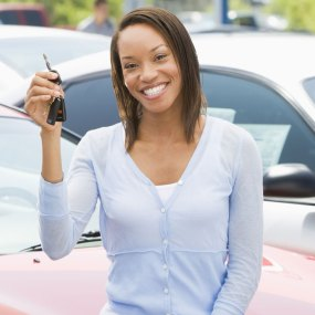 Young Woman Purchases a Car