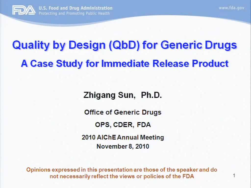 Qbd For Generic Drugs A Case Study For Immediate Release