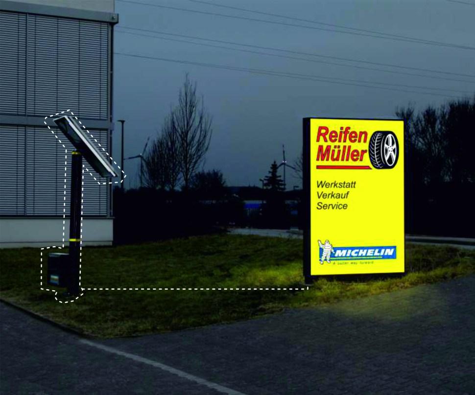Solarinselmodul Werbeanlagen