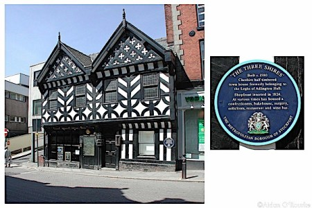 The Three Shires half timbered house, Stockport