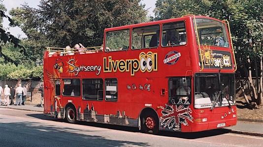 Liverpoool tour bus on Menlove Avenue