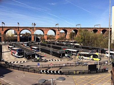 Stockport bus station and railway viaduct