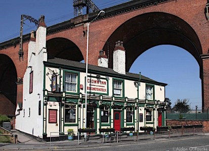 The Crown Inn and Stockport railway viaduct