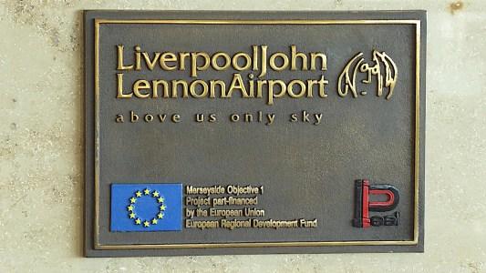 01c Liverpool John Lennon Airport plaque with EU funding