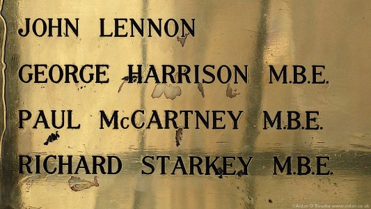 Names of the Beatles Liverpool town hall plaque