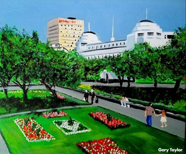 Piccadilly Gardens painting by Gary Taylor