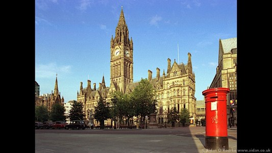 Town Hall and post box, Manchester 1998