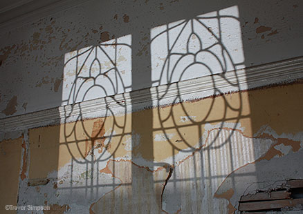 Victoria Baths top floor rooms - Patterned glass window shadow - Photo by Trevor Simpson