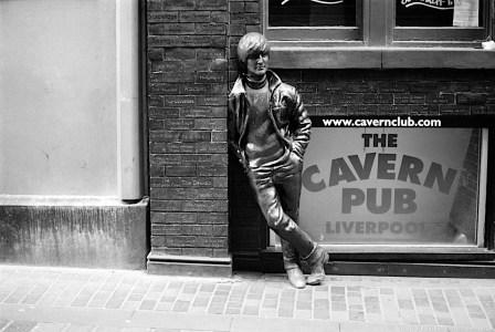 Statue of John Lennon, Mathew Street (black & white film photo)