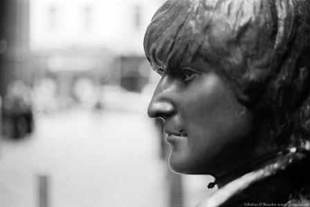 John Lennon Statue Mathew Street black and white image