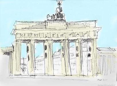 Brandenburg Gate drawing by Aidan O'Rourke