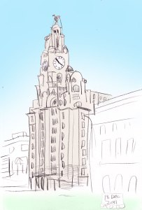 The Liver Building drawing by Aidan O'Rourke