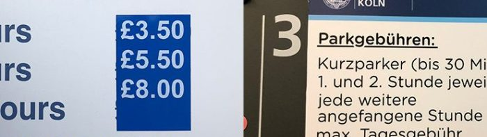 Examples of hospital parking charges UK and Germany