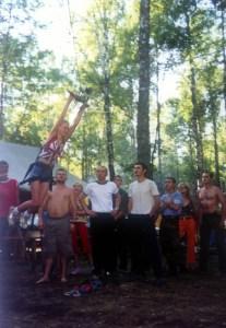 Rope slide in forest at festival