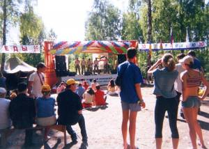 Stage in forest at festival