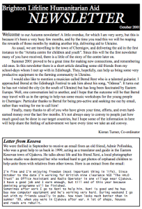 October 2001 newsletter