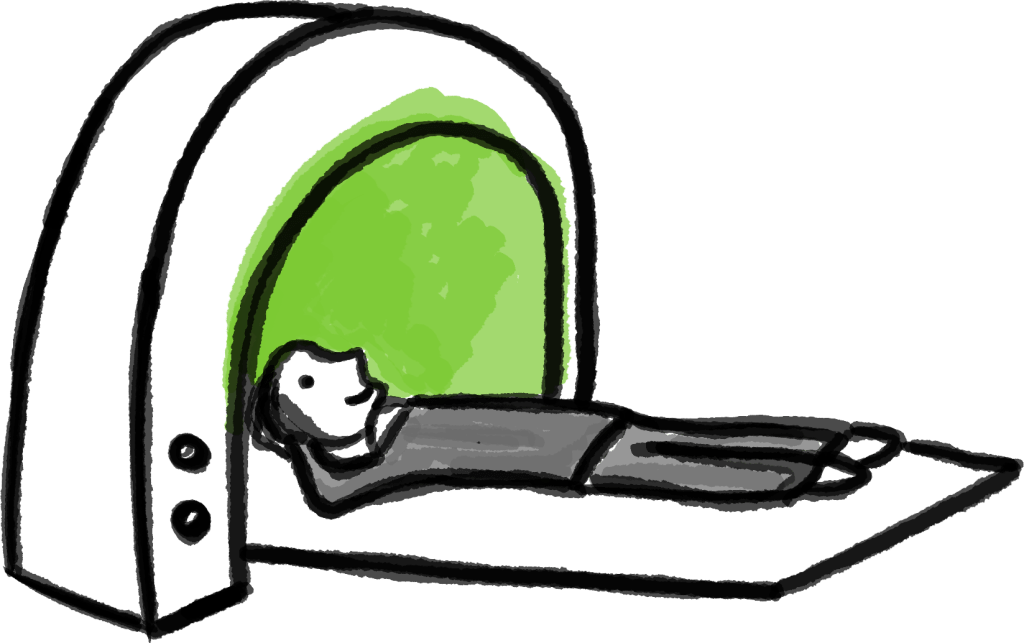 Illustraion of a relaxed patient in a scanner.