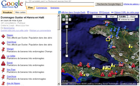 Google map of damage caused by Gustav and Hanna in Haiti