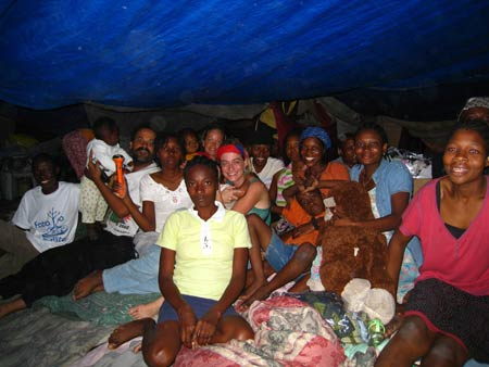 Us and Marc Orel's family in a spontaneous camp in Jacquet, Port-au-Prince