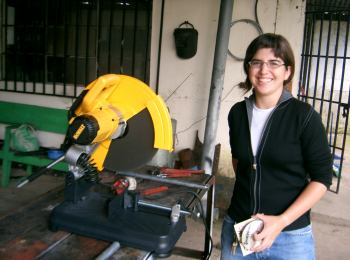 Alexandra Surasky-Ysasi and our new Chop Saw
