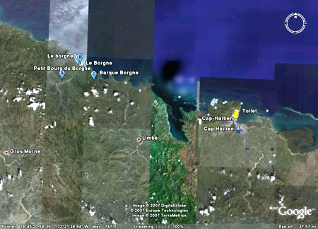 Borgne and Cap Haitien in Google Earth